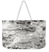 Minerva Springs In Black And White Yellowstone National Park Wyoming Weekender Tote Bag