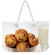 Mini Chocolate Chip Muffins And Milk - Bakery - Snack - Dairy - 3 Weekender Tote Bag