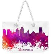 Minneapolis City Skyline Purple Weekender Tote Bag