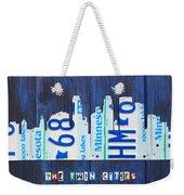 Minneapolis Minnesota City Skyline License Plate Art The Twin Cities Weekender Tote Bag