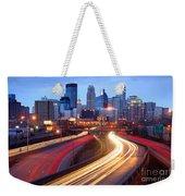 Minneapolis Skyline At Dusk Early Evening Weekender Tote Bag