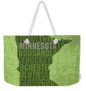 Minnesota Word Art State Map On Canvas Weekender Tote Bag