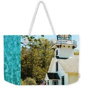 Mission Point Light House Michigan Weekender Tote Bag