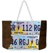 Mississippi State License Plate Map Art Weekender Tote Bag