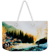 Misty Fishing Morning Weekender Tote Bag