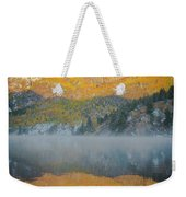 Misty Lake With Aspen Trees Weekender Tote Bag