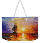 Misty Ship - Palette Knife Oil Painting On Canvas By Leonid Afremov Weekender Tote Bag