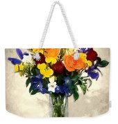 Mixed Bouquet Of Tropical Colored Flowers On Textured Vignette Oil Painting Weekender Tote Bag