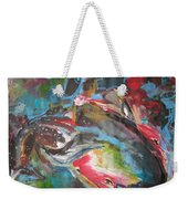 Mobie Joe The Whale-original Abstract Whale Painting Acrylic Blue Red Green Weekender Tote Bag