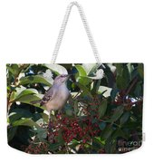 Mocking Bird And Berries Weekender Tote Bag