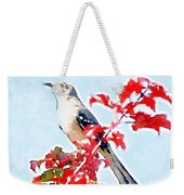 Mockingbird In The Leaves - Watercolor Weekender Tote Bag