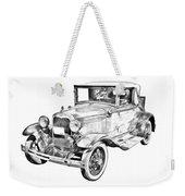 Model A Ford Roadster Antique Car Illustration Weekender Tote Bag