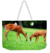 Mom Sharing A Snack With Her Baby Fawn Weekender Tote Bag