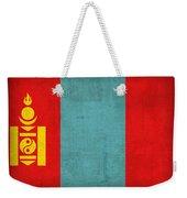 Mongolia Flag Vintage Distressed Finish Weekender Tote Bag