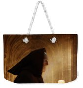 Monk With Candle In Cathedral Weekender Tote Bag