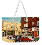 Monkland Street Hockey Game Montreal Urban Scene Weekender Tote Bag by Carole Spandau