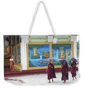 Monks In Rain At Shwedagon Paya Temple Yangon Myanmar Weekender Tote Bag