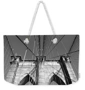 Monochromatic View Of Brooklyn Bridge Weekender Tote Bag