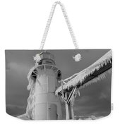 Monochrome Frozen Lighthouse Grand Haven Michigan Weekender Tote Bag