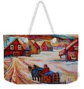 Mont St.hilaire Winter Scene Logger Heading Home To Quebec Village Winter Landscape Carole Spandau Weekender Tote Bag