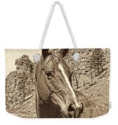 Montana Horse Portrait In Sepia Weekender Tote Bag