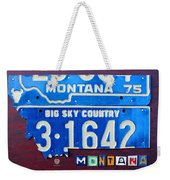 Montana License Plate Map Weekender Tote Bag by Design Turnpike