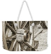 Montana Old Wagon Wheels In Sepia Weekender Tote Bag