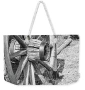 Montana Old Wagon Wheels Monochrome Weekender Tote Bag by Jennie Marie Schell