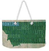 Montana Word Art State Map On Canvas Weekender Tote Bag by Design Turnpike