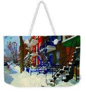 Montreal Art Streets Of Verdun Winter Scenes Winding Staircases Snowscenes Carole Spandau Weekender Tote Bag
