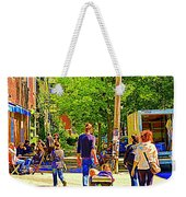 Montreal Art Summer Cafe Scene Rue Laurier Family Day Wagon Ride City Scene Art By Carole Spandau Weekender Tote Bag