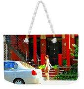 Montreal Art Summer Stroll On A Sunny Morning Colorful Street Verdun City Scene Carole Spandau Weekender Tote Bag