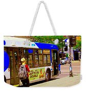 Montreal Bus Scenes Catching The 97 Bus Pontiac Corner Mont Royal Urban Montreal Art Carole Spandau Weekender Tote Bag