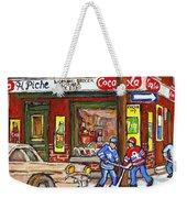 Montreal Hockey Paintings At The Corner Depanneur - Piche's Grocery Goosevillage Psc Griffintown  Weekender Tote Bag