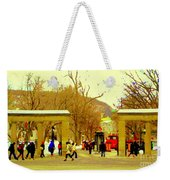 Montreal Memories Mcgill Students On Campus Roddick Gates Montreal Collectible Art Prints C Spandau Weekender Tote Bag