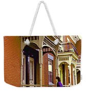 Montreal Memories Pretty Plateau Porches Lady Climbs Front Steps By Bricks Balconies Home Cspandau   Weekender Tote Bag