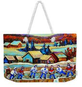 Montreal Memories Rink Hockey In The Country Hockey Our National Pastime Carole Spandau Paintings Weekender Tote Bag