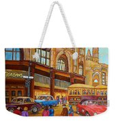 Montreal Memories-streetcars-morgan's Department Store At St.catherine And Union Weekender Tote Bag