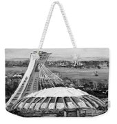 Montreal Olympic Stadium And Olympic Park-home To Biodome And Velodrome-montreal In Black And White Weekender Tote Bag