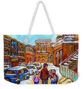 Montreal Paintings Winter Walk Past The Old School Snowy Day City Scene Carole Spandau Weekender Tote Bag