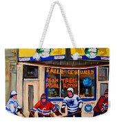 Montreal Pool Room City Scene With Hockey Weekender Tote Bag