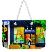 Montreal Rainy Day  Window Shopping Girl With Paisley Umbrella Spa Molinard Laurier  Carole Spandau Weekender Tote Bag