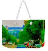 Montreal Skyline Decarie View Of Clock Tower Victoria Pier And Super Hospital Site Carole Spandau Weekender Tote Bag