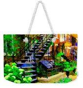 Montreal Staircases Verdun Stairs Duplex Flower Gardens Summer City Scenes Carole Spandau Weekender Tote Bag