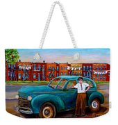 Montreal Taxi Driver 1940 Cab Vintage Car Montreal Memories Row Houses City Scenes Carole Spandau Weekender Tote Bag
