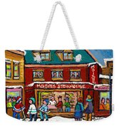 Montreal Winter Hockey At Moishes Weekender Tote Bag