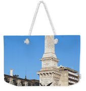 Monument On Restauradores Square In Lisbon Weekender Tote Bag