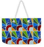 Moon - Mountains - Borealis - Quilt Painting Weekender Tote Bag