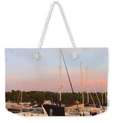 Moon Over Egg Harbor Marina Weekender Tote Bag