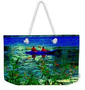 Moonlight Kayak Ride Along The Coastline Of The Lachine Canal Quebec Sea Scenes Carole Spandau Weekender Tote Bag